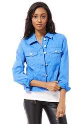 Blue Patterned Cotton Western Style Jacket  Item Code: EDEN-001