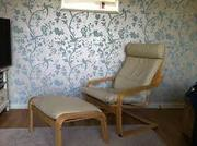 2 leather poang armchairs and foot stool