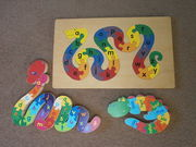 3 Wooden snakes & crocodile alphabet number puzzles from ELC