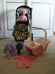 Baby Born Doll,  baby Annabel car seat,  Mams & Papas double pram