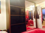 Wardrobe, Big sliding doors black/glass mocha wood
