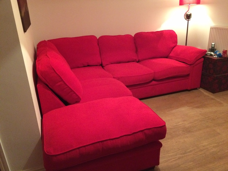 Incredible Beautiful Corner Sofa Bright Red Very Good Condition For Download Free Architecture Designs Scobabritishbridgeorg