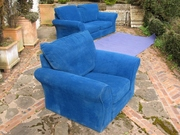 Free blue velvet sofas (2 and armchair in good condition near Hereford